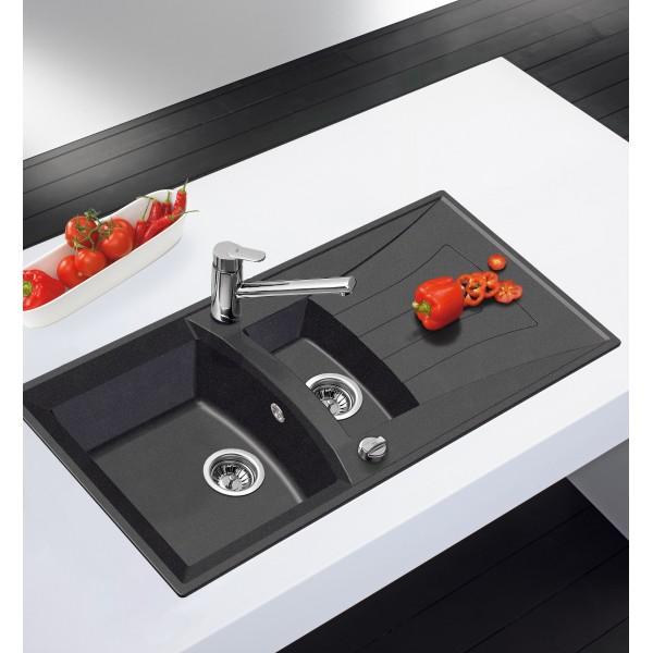 evier granit teka universo 1 1 2c 1e noir m tallique neocentre. Black Bedroom Furniture Sets. Home Design Ideas